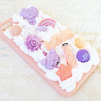 Peach iPhone 4/4S Case - Decoden Phone Case - Sweets, Flower, Candy, Love - Pastel Rainbow - Kawaii Kuma Bear - Purple - Pearls - Snap On