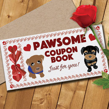 Printable Love Coupon Book and Envelope, Dog Theme Instant Digital Download (Unisex) PDF 5 pages - 19 coupon options