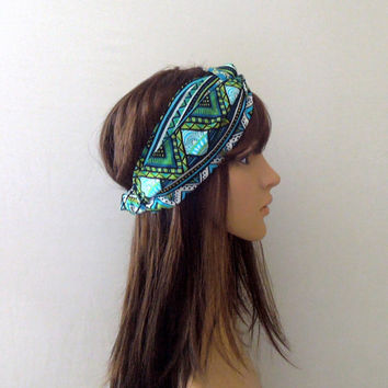 Blue/Green Aztec Turban Headband
