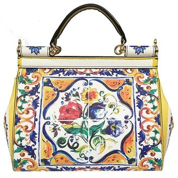 Vintage Ethnic Flower Print Leather Handbag
