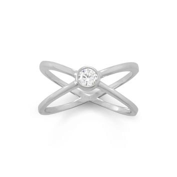Rhodium Plated CZ Criss-Cross Ring