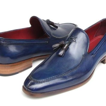 Paul Parkman (FREE Shipping) Men's Tassel Loafer Blue Hand Painted Leather