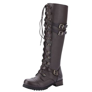 9037cfe3924 Sexy High Heels Women Shoes Lace Up Winter Boots Women Steampunk