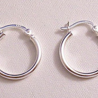 20mm Sterling Silver 925 Hoop Pierced Post Stud Earrings Vintage Round Open Tube French Bar Lock Plain Large Rings