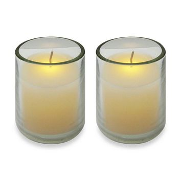 Pack of 2 Ivory Battery Operated Flameless LED Lighted Flickering Wax Votive Candles