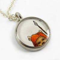 Star Wars Jewelry -- Ewok Necklace -- Original Illustration Watercolor Pendant