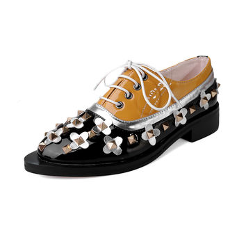 Genuine Leather Patent Leather Oxford Shoes