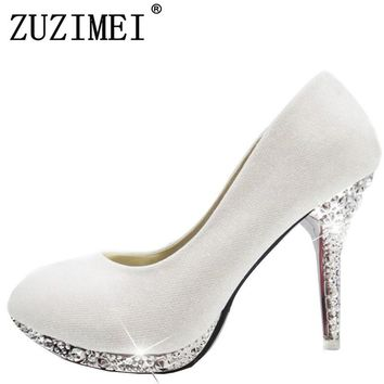 2018 Women's Wedding Shoes Woman Bridal Evening Party Red High Heels Shoes Sexy Women Pumps Glitter White Bridal Shoes Tacones