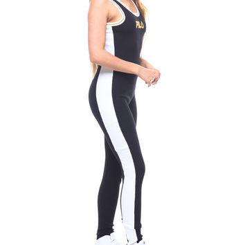 Ivory Stripe Side Unitard by Fila