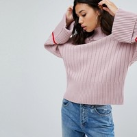 Boohoo Flare Sleeve Contrast Trim Jumper at asos.com