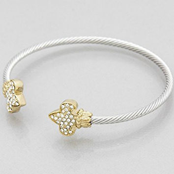 Womens Jewelry, Fleur De LIS Pave TIP Cuff Bracelets Color : Rhodium-gold-clear Size : Height:3mm. Great for New Orleans Saints Fans!