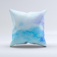 Subtle Green & Blue Watercolor V2 Ink-Fuzed Decorative Throw Pillow