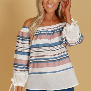 Off The Shoulder Puffy Tie Sleeve Top Ivory