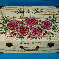 Custom Painted Wedding Keepsake Suitcase Box Personalized Gold Wood Gift Card Box White Red Roses