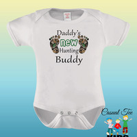 Daddy's New Hunting Buddy Funny  Baby Girl or Boy Baby Bodysuit, Baby Boy Clothes, Baby Girl Clothes, Hunting Baby