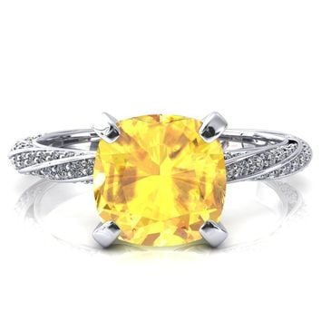 Elysia Cushion Yellow Sapphire 4 Prong 3/4 Eternity Diamond Accent Ring