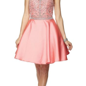 Juliet 779 Coral Embellished Bodice Short Prom Dress Sleeveless