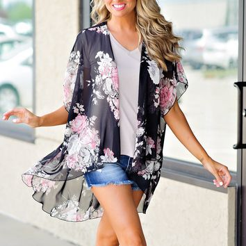 * Dark Night Sheer Floral Kimono: Black