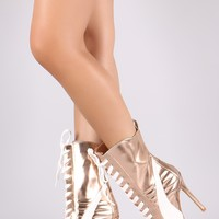 Two Tone Metallic Pointy Toe Lace Up Stiletto Sneaker Boots