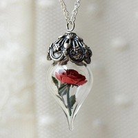 Handmade Gifts | Independent Design | Vintage Goods Red Rose Terrarium Necklace - New Arrivals