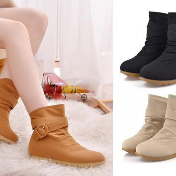 Womens Cute Moto Ankle Strap Casual Boots