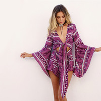 Elegant boho floral print Women's Playsuit Casual chic v neck high waist Jumpsuits Rompers Women Autumn Loose Playsuits 80234