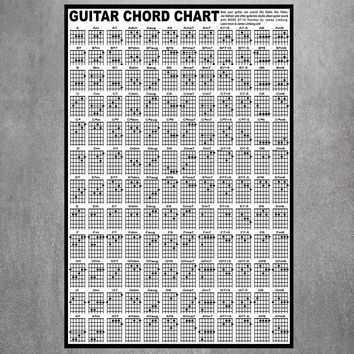 Guitar Chord Chart  Canvas Art Print Painting Poster Wall Pictures For Room Decoration Home Decor No Frame Silk Fabric