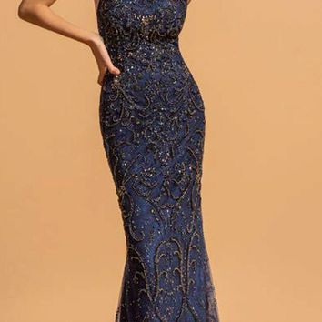 Lace Beaded Long Prom Dress Open-Back Navy Blue