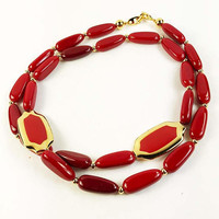 Napier Oblong Red Bead Necklace Designer Signed Vintage - Long Napier Bead Necklace Signed Vintage