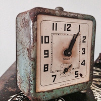 Vintage Gilbert Alarm Clock / Small Shabby Antique Clock / Retro Industrial Decor