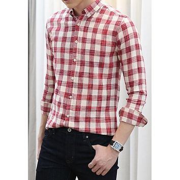 Mens Long Sleeve Red Checkered Shirt
