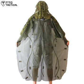 TTGTACTICAL Military Ghillie Hood with Detachable Ghillie Cape Sniper Coat & Ghillie Poncho Army Green