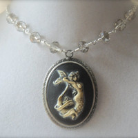 "Siren Song Mermaid Cameo Crystal wrapped chain silver plated 20"" Necklace One of a kind hand painted grey silver gun metal"
