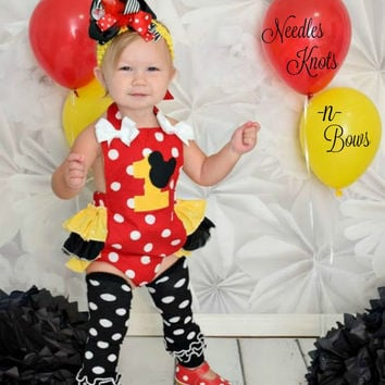 Girls Minnie Mouse First Birthday Outfit, Girls Minnie Mouse Birthday Romper,