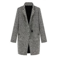 ZLYC Women Fashion Winter Wool Blend Lapel Plaid Trench Wool Long Parka Coat
