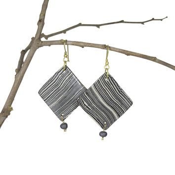 Handmade; Geometric Nerikomi Earrings; Wave Pattern - BLACK