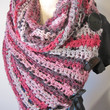 Scarf Wrap Oversized Black Button Hot Pink Black Grey Pink Crochet Versatile Acrylic Handmade