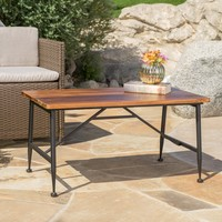 Ellaria Industrial Acacia Wood Coffee Table with Iron Accent