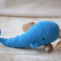 Amigurumi Crochet toy Whale Baby rattle Stuffed Sea Animal Plushie Baby toys Teether organic New Baby Gift Baby Shower Gift Kids toddler toy
