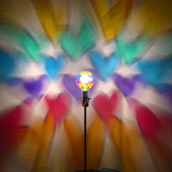 Hand-Painted Rainbow Hearts Mood-Light Bulb 4 Earth Day, 4/20, Night Lights, Parties, Mood Lighting, Kid's Lamps, Color Therapy!