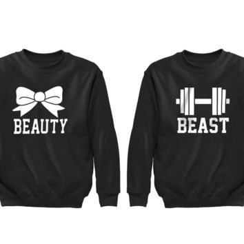 XtraFly Apparel Beauty Bow Beast Weight Valentine's Matching Couples Pullover Crewneck-Sweatshirt