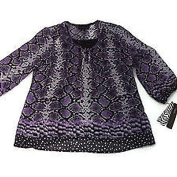 DANA Buchman Purple Black Snake Print Tunic Top w/ Black Shell Size XS