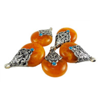 Tibetan Pear Shaped Pendant Copal Amber Resin Tuquoise Stones 26mm x 40mm One Piece per Package