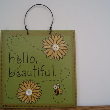 Country decor wooden sign, Hand painted wood sign, Hello beautiful sign, Country home decor, Bumblebee and sunflowers sign, Spring decor