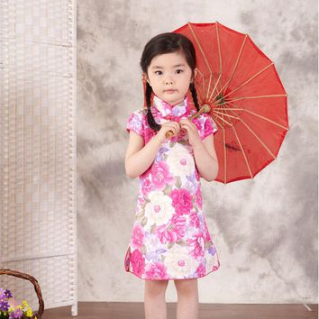 Summer Chinese Traditional Style Cheongsam Dress Party Costume Baby Princess Dresses Qi-Pao Tang Suit For Little Girls Clothes