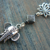 Lotus flower elephant belly ring BLACK sacred zen yoga  Moroccan boho hipster new age gypsy hippie belly dancer beach and hipster style