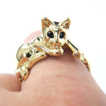 Relaxing Kitty Cat Animal Wrap Around Ring in Shiny Gold - Sizes 4 to 9 Available