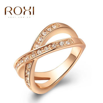 ROXI Christmas gift to girl X rings,top quality make with genuine SWR crystal, 100% hand made fashion jewelry,2010011290