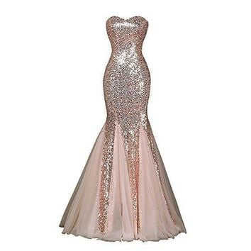 JASY Multi  Rose Gold Sequined Mermaid Dresses Long Bridesmaid Dresses for Womens Available