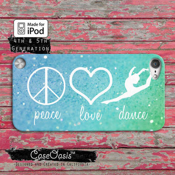Peace Love Dance Quote Symbols Blue Mint Sparkle Cute Case iPod Touch 4th Generation or iPod Touch 5th Generation Rubber or Plastic Case